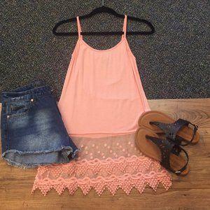 Peach Lace Layering Slip